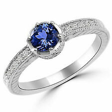 Simulated Diamond Vintage Antique Style Engagement Ring 14k White Gold