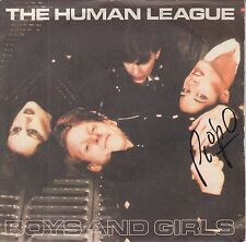 """PHIL OAKEY HAND SIGNED HUMAN LEAGUE 7"""" VINYL BOYS AND GIRLS."""