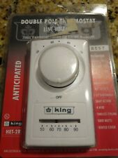 King Het-2R Double Pole Anticipated Thermostat White