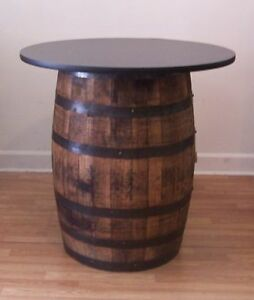 """White Oak Whiskey Barrel Table with 36"""" Black Table Top-Reversible to Mahogany"""