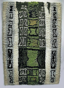 Modern Rya Rug Wool Scandinavian Finland Kirsti Ilvessalo 1957 Mid-Century Green