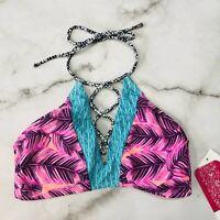Hula Honey Juniors Pink Teal Leaf Breeze Lace-Up Halter High Neck Bikini Top S