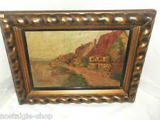 altes Ölgemälde Bild signiert mit Holzrahmen Landschaft 39x31 Antik