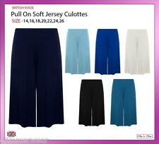 Women Pull On Soft Jersey Baggy Culottes Wide Leg Standard & Plus Sizes 12-26