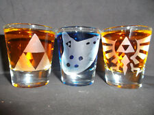 Zelda etched shot glass set of 3 fan art Ocarina Time windwaker wii u 3ds
