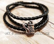 Braided Wrap Bracelet for Men - Woven Braided Leather - Silver GOLF Charm - Gift