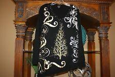 BEREK Studio Womens Size L Black Gold Trees Christmas Sweater Long Sleeve