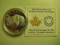 2014 Proof $20 The Bison #3-The Bull & His Mate Canada COIN&COA ONLY .9999 silve