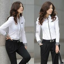OL Women's Button Down Shirt Casual Long Puff Sleeve Office Lady Tops Blouse Asian S (us S(2) UK 4 AU 6)