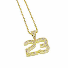 """Hip Hop 14k Gold Plated Iced Out 23 Jersey Jordan Pendant w/ 24"""" Chain Bling"""