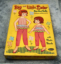 Vintage Big and Little Sisters Cindy and Sue - paper dolls with outfits