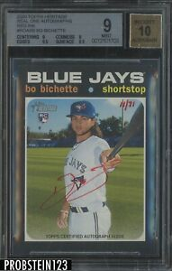 2020 Topps Heritage Real One Bo Bichette RC Red AUTO JERSEY# 11/71 BGS 9