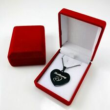 Personalized Name Engraving Heart Shape Necklace Black Steel Pendant #12-4