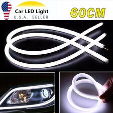 2X White 60cm Car Flexible Tube LED Strip Daytime Runnning DRL Light Headlight