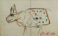 WOLF. MIXED ON CANVAS. ATTRIB. MODEST CUIXART. LETTER FROM  AUTHOR. SPAIN. 1965