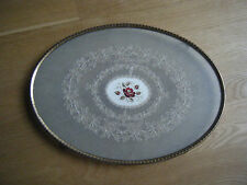 """Antique Tray with Glass and Lace Insert - Brass - Footed Oval 15"""""""