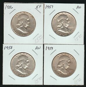 Lot of 4 Franklin Half Dollars, Circulated, 1956, 1957, 1958 and 1959