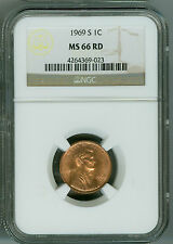 1969 S NGC MS66 RD Penny Lincoln Cent, Bright Cherry Red Beauty!