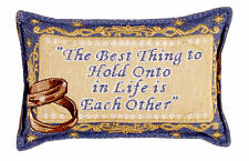 MARRIAGE Wedding Throw Pillow Hold Onto Each Other New 9x12 Made USA Rings Blue
