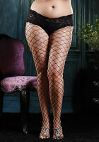 XL XXL FENCE NET LACE BOY SHORT TIGHTS RED WHITE BURLESQUE PANTYHOSE UK 16 18 20