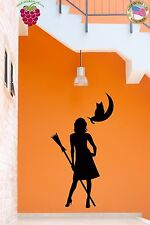 Wall Stickers Vinyl Decal Which Girl Woman Broom Black Cat Moon  (z1625)