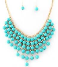 TURQUOISE BLUE LUCITE BEAD DANGLE GOLD TONE V STYLE NECKLACE EARRING