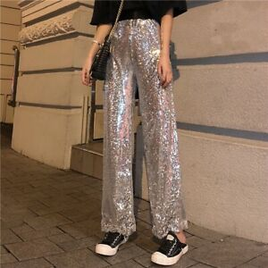 Women Wide Leg Sequins Pants Trousers Silver Club Shiny Party High Waist