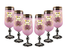 Bohemian Crystal Colored Glasses, 6-pc Vintage PINK Champagne Stem Flutes