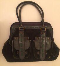 Laura Ashley Boho Olive Green Velvet Vintage Bag