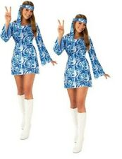 Womens Blue 60s Hippy Dress Flower Power - Adult Ladies Fancy Dress Party Outfit