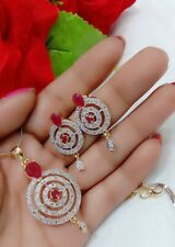 American Diamond & Ruby Studded Round Pendant With Earrings Set For Women's Gift