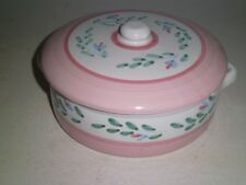 CALECA  Italy Sorrento CASSEROLE DISH w lid/ PITCHER Pink Bands/Blue/Green Nice!