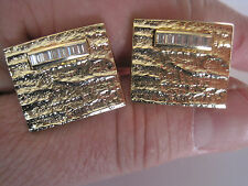 Vintage Gold-Tone Cufflinks w/ Clear Rhinestone Accents, New Old Stock