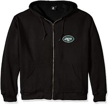 Mens NFL New York Jets Craftsman Full Zip Thermal Jacket Hoodie Black Size Small