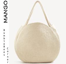 Mango Round SHOPPER Bag Braided Cotton Cream Limited Edition XL Tote Handbag