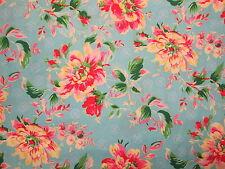 ANTIQUE FLOWERS ROSES VINTAGE FLOWER ROSE BLUE PINK COTTON FABRIC FQ