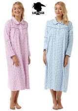 Womens Luxury Lady Olga Brushed Cotton Wincyette Long Sleeve Nightie Nightdress