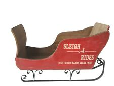 "Large Santa ""Sleigh Rides"" Wooden & Metal Handmade Presents Xmas Decoration"