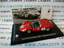 MAS1S 1/43 LEO models MASERATI collection tipo 63 24H Du Mans 1961 VACCARELLA