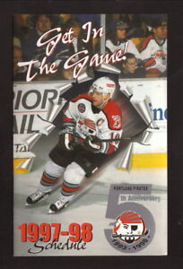 Portland Pirates--1997-98 Pocket Schedule--Cellular One--Capitals Affiliate