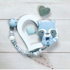 Schnullerkette mit Namen Wunschname Beißkette Beißring Silikon hellblau grau