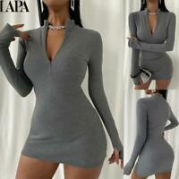 Womens Bodycon Zip-Up Sweater Mini Dress Knit Long Sleeve Casual Pullover Top US
