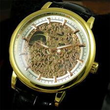 Montre à remontage automatique à bracelet en cuir squelette en or pour homme