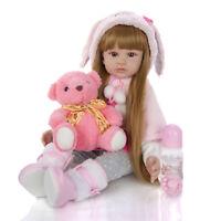 24'' Lifelike Reborn Baby Dolls Toddler Long Hair Pretty Girl Doll Soft Body NEW