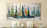 ZOPT320 abstract sail boat landscape hand painted oil painting art on canvas