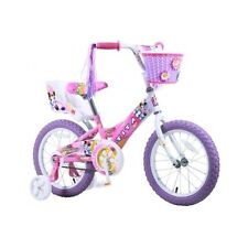 Girls BMX Bike Pink White 16 Inch Kids Bicycle With Training Wheels & Doll Seat