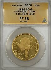 1986 Proof Singapore 100 Singold 1 Oz .9999 Gold Coin ANACS PF-68 DCAM