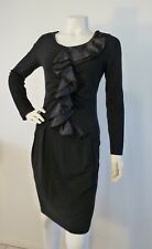 BOO RADLEY DRESS Black Frill Long Sleeve Stretch  Size S 8