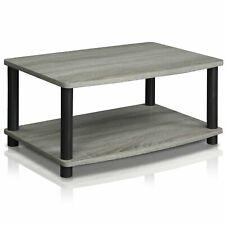 Modern Grey Coffee Table Wood End Side Shelves Shelf Living Room Furniture Gray