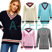 Womens Ladies Cable Knitted V Neck Cricket Jumper Top Plus Size Sweater Pullover